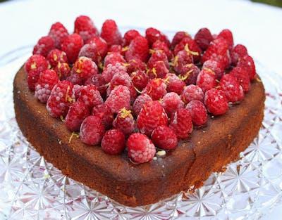 Lemon Raspberry Sweetheart Cake (Gluten Free)