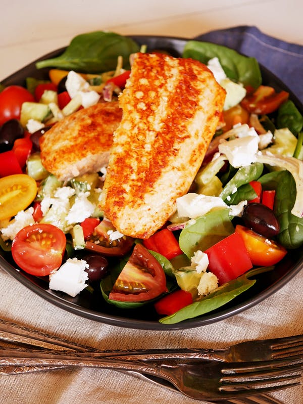 Air Fryer Salmon with Greek Salad P Air Fryer