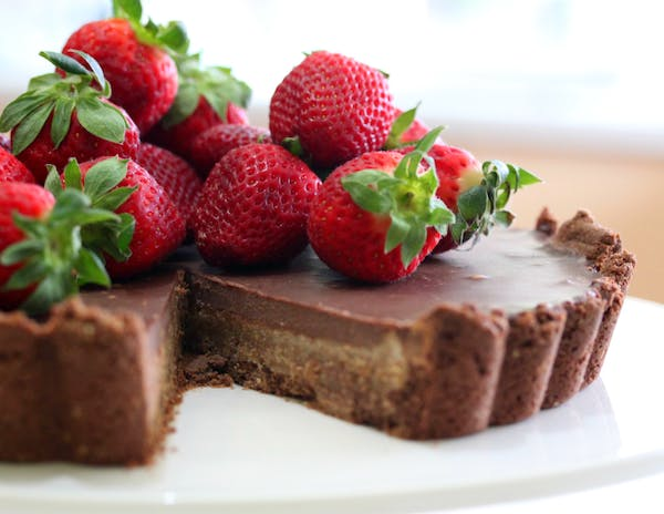 Almond Chocolate Tart sliced