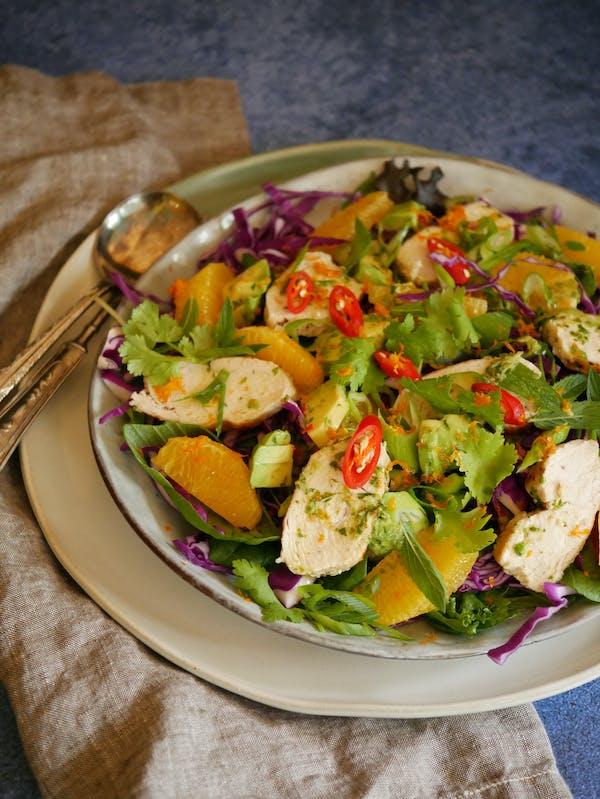 Chicken Salad with Orange Chilli Avocado Dressing