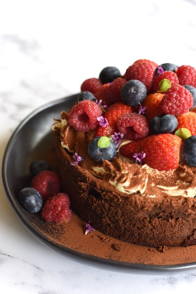 Chocolate Mousse Cake with Seasonal Berries
