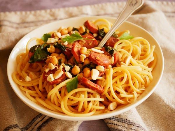 Chorizo and Chick Pea Spagettini LS THERMOMIX