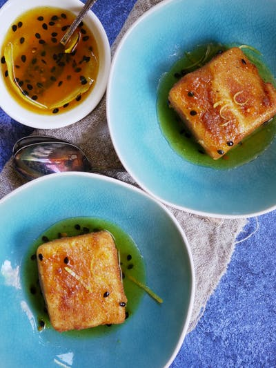 Fried Custard with Spiced Passionfruit Syrup