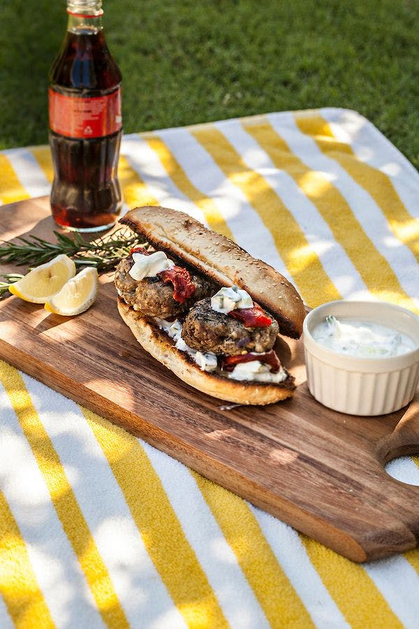 Lamb Burgers with Feta and Yoghurt Dressing