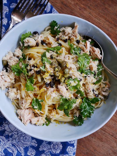 Linguine with Tuna, Capers and Currants