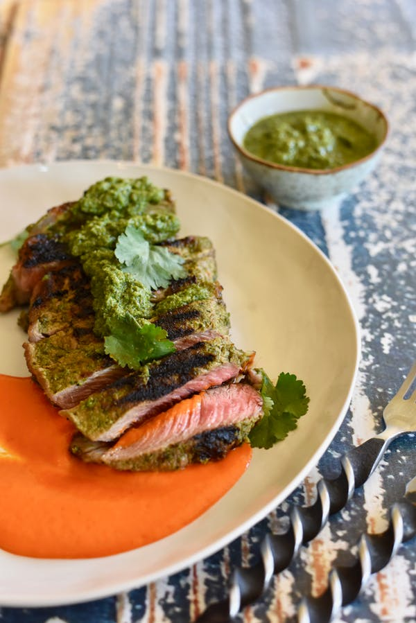 Marinated Beef Fillet with Chimichurri and Roasted Red Capsicum Puree 1