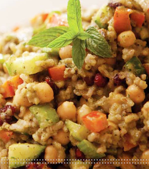 Minted Red Rice And Chick Pea Salad