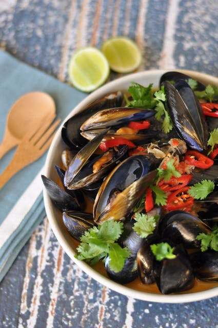 Mussels in Thai Coconut Broth