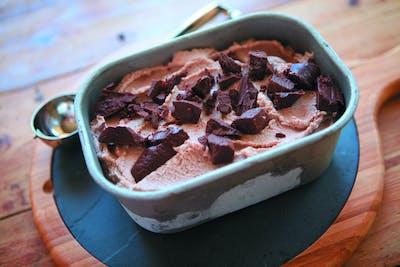 Nutty Date Ice Cream with Raw Choc Chunks