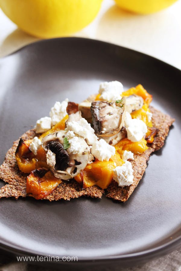 Nutty-Seeded-Crackers-with-Roasted-Pumpkin-Bruschetta-and-Pickled-Mushies