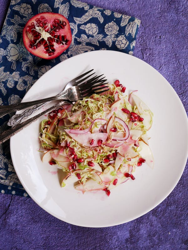 Pear and Brussels Sprouts Slaw with Pomegranate P TENINA