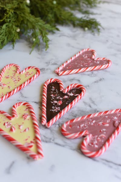 Peppermint Candy Cane Chocolate Hearts