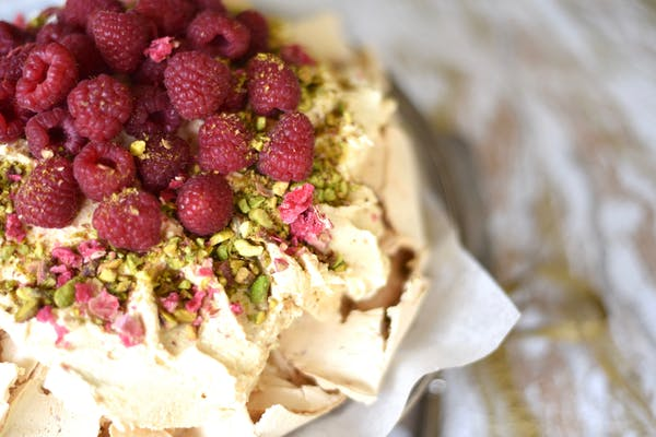 Persian Love Pavlova With Burnt Chocolate Cream