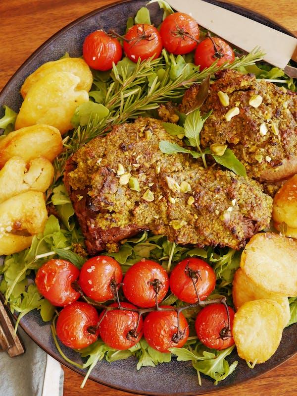 Pesto Lamb Roast with the lot P FTENINA