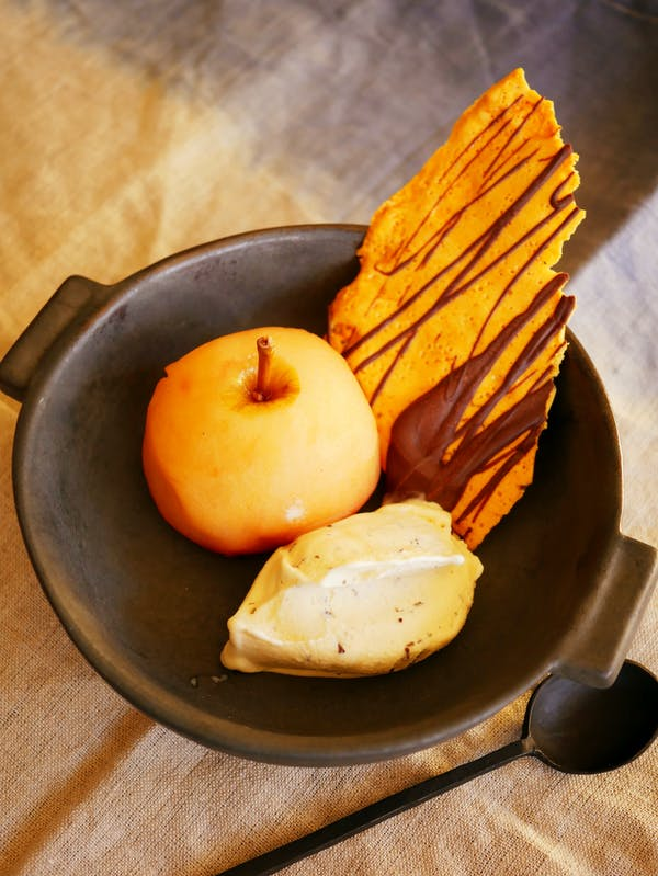 Poached Apple with Honeycomb and ice cream P TENINA