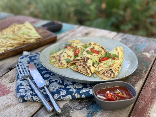 Pork Filled Savoury Pancakes