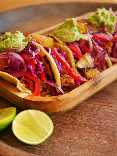 Pulled Pork Soft Tacos with Grilled Pineapple Slaw