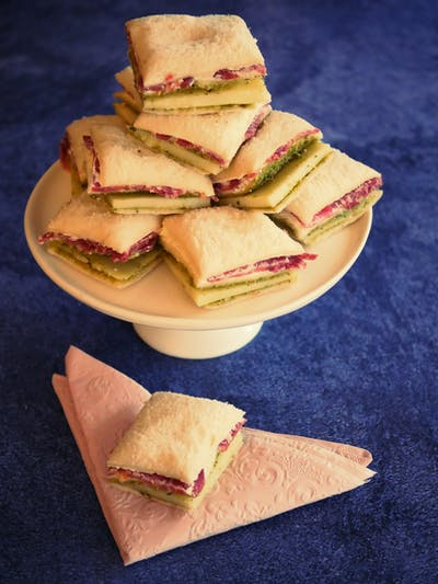 Cheese, Pesto and Salami Sandwiches