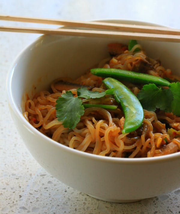 Slim Noodles with Miso and Mushrooms