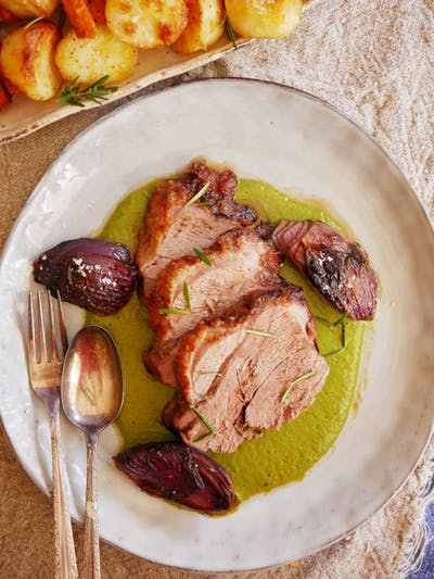 Slow Roasted Lamb with Charred Red Onions