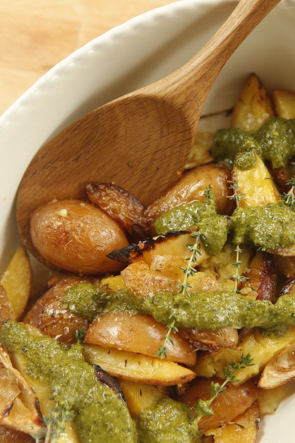 Smash H It Potatoes with Salsa Verde