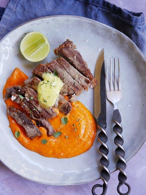 Sous Vide Steak with Red Capiscum Puree TENINA
