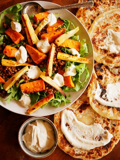 Spiced Lentil and Roast Vegetable wrap