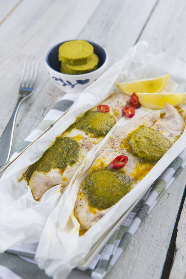 Steamed Fish Fillets With Chermoula Butter