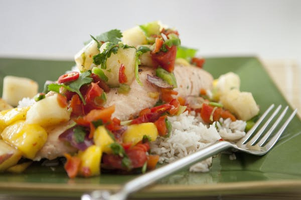 Steamed Salmon With Mango Pineapple Salsa