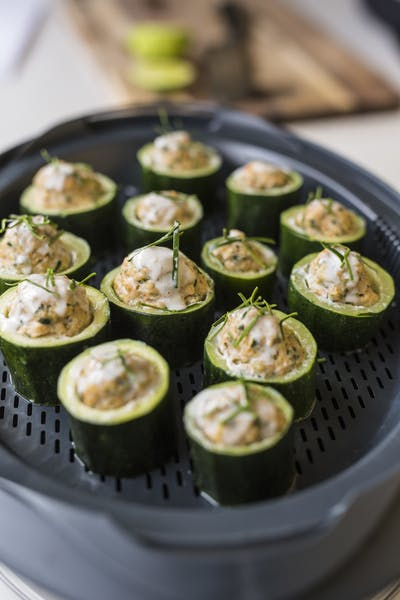 Thai Prawn Stuffed Zuchinni Rounds